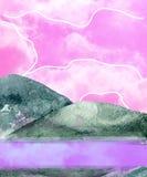 La acuarela de las montañas salpica las nubes rosadas de dibujo verdes del clip art del ejemplo de la textura del clip art geomét stock de ilustración