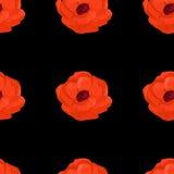 La acuarela del verano florece el modelo inconsútil de la anémona Imagen de archivo libre de regalías