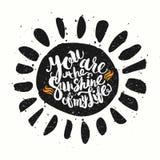 La acuarela dibujada mano que pone letras a cartel-Sun con usted es los soles Fotografía de archivo libre de regalías