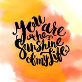 La acuarela dibujada mano que pone letras a cartel-Sun con usted es los soles Fotografía de archivo