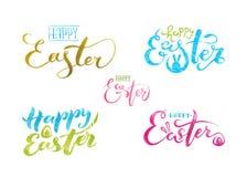 La acuarela fijó poner letras a Pascua feliz Aislado en el fondo blanco ilustración del vector