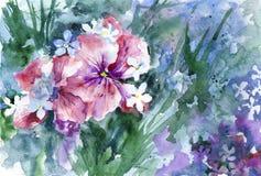 La acuarela florece el fondo Imagenes de archivo