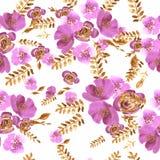 La acuarela florece el modelo inconsútil de las peonías de las rosas ilustración del vector