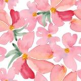 La acuarela florece el modelo inconsútil Illustratio dibujado mano del vector Imagen de archivo