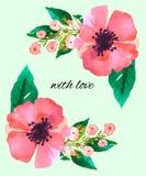 La acuarela florece la flor verde de las hojas imagenes de archivo