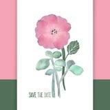 La acuarela florece la tarjeta del vector Imagen de archivo