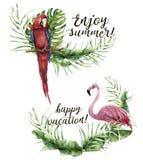 La acuarela goza de verano y de la impresión feliz de las vacaciones Etiqueta floral pintada a mano con la planta tropical, el fl Fotografía de archivo