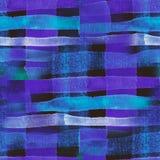 La acuarela inconsútil rayó la impresión, dibujo azul en una jaula imágenes de archivo libres de regalías