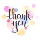 La acuarela le agradece cardar Fotos de archivo libres de regalías