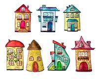 La acuarela linda pintó casas fijadas Se puede utilizar para el diseño lindo de la impresión para la tarjeta el saludo del día de stock de ilustración