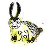 La acuarela mágica del bosque del conejito lindo inusual del extracto borra y salpica la línea negra silueta del arte ilustración del vector