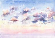 La acuarela pintó la imagen de la puesta del sol hermosa con las nubes Imagen de archivo