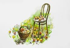 La acuarela pintó la silla y una cesta de manzanas Imágenes de archivo libres de regalías