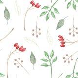 La acuarela pintada sale de Berry Christmas Seamless Patterns Holidays festivo stock de ilustración