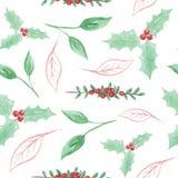 La acuarela pintada sale de Holly Berry Christmas Seamless Patterns Holidays festiva ilustración del vector