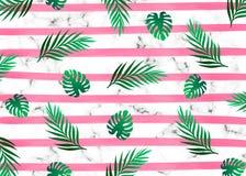 La acuarela rosada alinea rayas horizontales con con el árbol verde claro tropical exótico de la selva tropical de la selva en el libre illustration