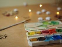 La acuarela secó ladrillos coloridos de la pintura fotos de archivo libres de regalías
