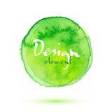 La acuarela verde pintó el círculo texturizado vector ilustración del vector