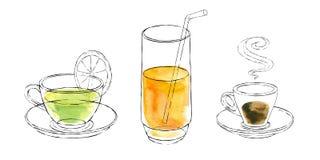 La acuarela y la tinta bebe en tazas y vidrio Imagen de archivo