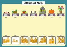 la adición y hace juego los pesos de objetos, las hojas de trabajo de la matemáticas para los niños, las escalas y los pesos libre illustration