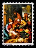 La adoración de los pastores, la Navidad 1967 - serie de las pinturas, circa 1967 Fotografía de archivo