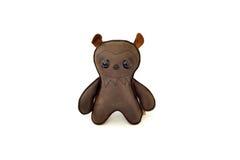 La aduana handcrafted rellenó el oso asustadizo del juguete de cuero - frente Imagen de archivo