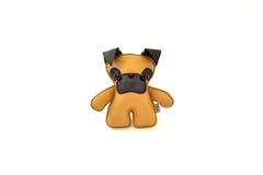 La aduana handcrafted rellenó el terrier de cuero del amarillo del juguete - frente Fotografía de archivo libre de regalías