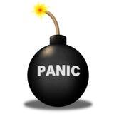 La advertencia del pánico representa ansiedad y terror de la histeria Foto de archivo