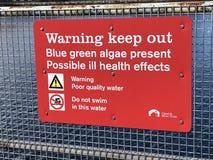 La advertencia roja guarda hacia fuera la muestra Imagenes de archivo