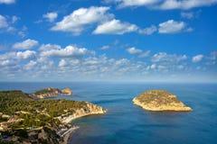 La aerea Falzia del mar Mediterraneo di Javea Xabia Fotografie Stock Libere da Diritti