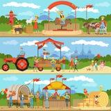 La agricultura y el cultivo de banderas horizontales fijaron, los productos naturales del granjero de la comida, cultivando un hu libre illustration