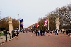 La alameda en Londres alineó con las banderas de la Commonwealth Fotos de archivo libres de regalías