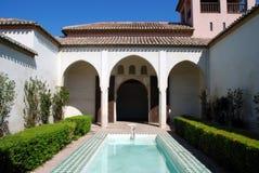 La Alberca, Nasrid Paleis, Malaga van het terras DE. Stock Fotografie
