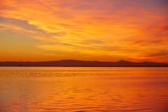 La Albufera lake sunset in El Saler of Valencia Royalty Free Stock Images