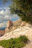 La Alcazaba und Wände des Cerro-Des San Cristobal, Almeria Spa Stockbilder