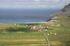 La aldea de Unstad Fotos de archivo