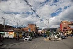 La aldea peruana de Huaraz Foto de archivo