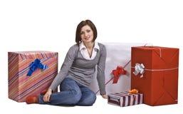 La alegría de regalos Imágenes de archivo libres de regalías