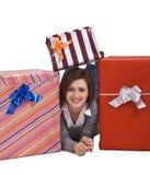 La alegría de regalos Imagen de archivo libre de regalías