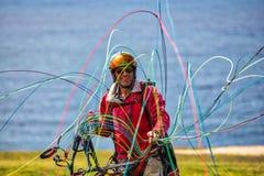 La alegría del Paragliding Fotos de archivo