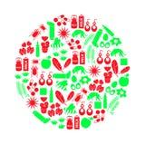 La alergia y los alergénicos rojos y los iconos verdes fijaron eps10 ilustración del vector