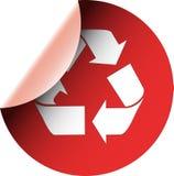 La alerta ecológica recicla la etiqueta engomada roja Fotos de archivo libres de regalías
