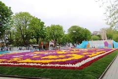 La alfombra más grande de tulipanes el mundo en Sultanahmet, Estambul Fotos de archivo