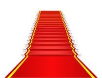 La alfombra roja está en las escaleras. Imagenes de archivo