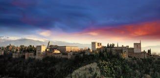 La Alhambra. Panorama of La Alhambra of Granada in sunset Stock Photography