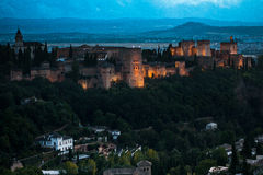 La Alhambra del sobre de Atardecer Foto de archivo libre de regalías