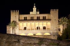 La Almudaina Palace in Palma de Mallorca. La Almudaina Palacio Real Palace in Palma de Mallorca night view at Balearic islands Royalty Free Stock Photo