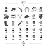 La América, del oeste, el ganado y el otro icono del web en estilo monocromático Señales de tráfico, iconos de la seguridad en la stock de ilustración