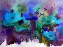 La amapola salvaje hermosa texturizada borrosa brillante de la mano de la decoración del fondo del extracto del arte de la acuare Foto de archivo libre de regalías