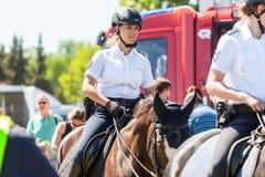 La amazona alemana de la policía monta en un caballo de la policía Imágenes de archivo libres de regalías